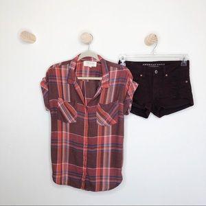 Cloth & Stone plaid button down short sleeve top